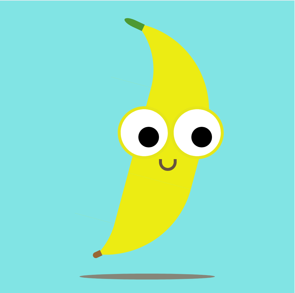 a CSS banana with eyes